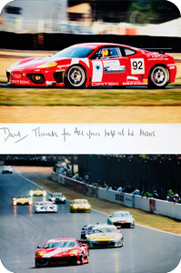 A thank you card from the Ferrari 360 Racing Team for David Booth's exercise and nutritional coaching